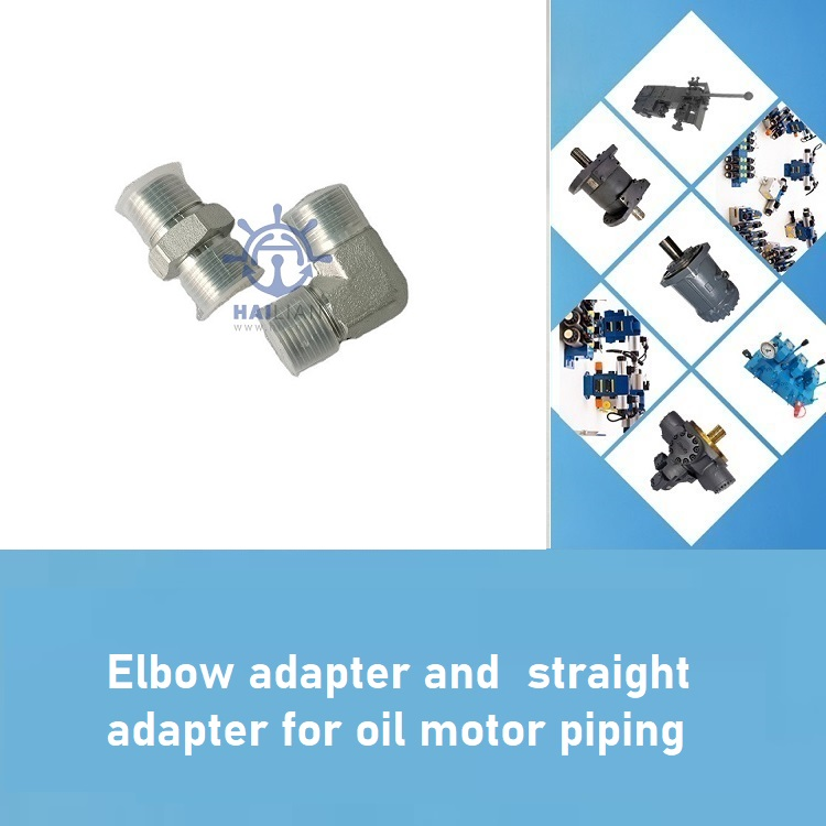 90 Deg elbow adapter and  straight adapter for oil motor piping arrangement,DWG:H-02000